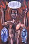N1. Autoporträt mit Engel, Astrounat und Alphabet auf Aluminium