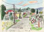 Strasse in Le Tampon, La Réunion, 16X20cm, Artist Pen, Buntstift auf  Papier