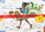 Mit goldenen Schritten in die goldene Zukunft  30X42cm, Aquarell, Tusche auf Papier, 2005