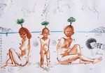 Familie auf dem Insel  Milos,  40X60cm, Tusche, Aquarell auf Papier, 1993