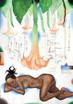 Aufwachen, die Trompeten schmettern schon!  30X42cm, Aquarell, Tusche auf Papier, 2005