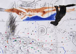 Geliebte von Santorini,  40X60cm, Tusche, Aquarell auf Papier, 1993