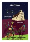 Carte postale pour Le téléthon de Saint-Père en Celle 2016 pour la municipalité de Saint-Père _ Technique: illustration à la main, mise en couleurs Photoshop _ Impression: Copie et Création sur papier 300g/m², Recto couleur vernis