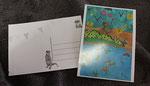 """Carte postale """"L'amour..."""", projet collectif """"Moka la loutre"""" _ Technique: illustration aquarelle à la main _ Impression: PixartPrinting sur papier 265g/m², recto couleur vernis, verso Noir & blanc"""
