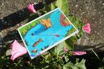 """Carte postale """"Nouvelles fraîches"""", projet collectif """"Moka la loutre"""" _ Technique: illustration aquarelle à la main _ Impression: PixartPrinting sur papier 265g/m², recto couleur vernis, verso Noir & blanc"""
