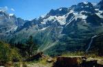 rottalgletscher, Ebenefluh, Mittaghorn und Großhorn vom Höhenweg Obersteinberg - Oberhornsee