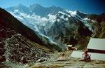 Bei der Bergstation Plattjen. Im Hintergrund Mischabel mit Taeschhorn und Dom