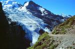 Blümlisalp und -gletscher vom Hüttenweg beim Abstieg am Nachmittag