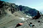 Rast vor dem 400 m hohen Schlussaufstieg zum Piz Minschun