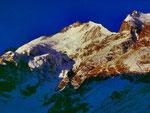 Foto mit Minolta X 500, 28,28mm: Sonnenaufgang am Piz Bernina, Standort Bovalhütte