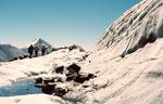 Raueisiges Wegstück zwischen Egginerjoch und Britanniahütte