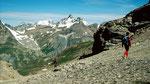 Aufstieg zum Piz Minschun mit Blick nach Norden zur Fluchthorngruppe der östl. Silvretta