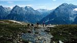 Engadiner Dolomiten mit Piz Lischana und Piz Pisoc. Hinten der Ortler
