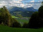 Ortsteil Wilbinger, Bezau, Hirschberg und Mittagsfluh vom Gebiet Heugut am Klausberg