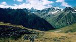 Silvrettagipfel (Kl. und gr. Piz Buin) vom Anstieg zum Piz Minschun
