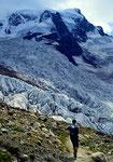 Aufstieg neben dem Tschiervagletscher zur Tschiervahütte