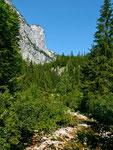 Weg am Zimitzhbach entlang mit Aussicht auf die Südabstürze des Toten Gebirges