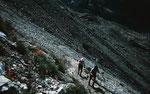 Steiles Wegstück zur Randmoräne der Blümlisalpgletschers