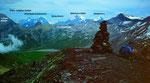 Auf der Ammertenspitze. Gipfelschau zu Eiger, Mönch, Jungfrau, Blümlisalpgruppe, Bietschhorn, Balmhorn, Altels