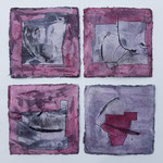 Serie 6 - Short stories - auf Bütten je 15x15cm, 2021