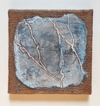 Forks in my road, 20x20cm, sackcloth on canvas, intonaco, pigments, pastelstick