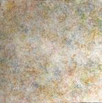 """「土の記憶」 """"Memories Of Soil"""" 三椏、土、岩絵の具、膠、シャープペンシル など 100×100cm"""