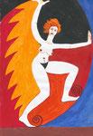 die feurig Entschlossene - mit allen meinen Heiligen, Aquarell, 1995, DIN A 4