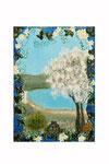 Au printemps (Acrylique sur plaque de bois n3 - côté recto - 17 x 12 )