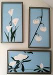 Ensemble de Fleurs blanches:  arômes, lys et magnolias (Acrylique  sur toile - 60 x 30- / -30 x 60 )
