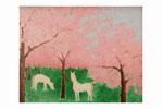 Sous les pommiers en fleurs (Acrylique sur toile- 100 x 74 )