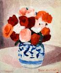 薔薇(染付)1986年 H45.5×38 F8 キャンヴァス、油彩