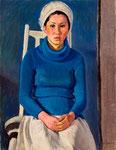 青いセーターの娘  1974年 H80.5×60.8 P25 キャンヴァス、油彩