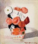 薔薇(赤絵)1986年 H45.5×38 F8 キャンヴァス、油彩