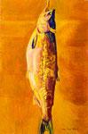 鮭 1979年 H80.5×53 M25 キャンヴァス、油彩