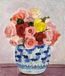 薔薇(染付) 1962年 H53×45.5 F10 キャンヴァス、油彩