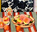 桃のある静物(個人蔵 )1965年 H45.5×53 F10 キャンヴァス、油彩