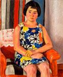 赤い椅子の瑛美像  1974年 H80.5×65.5 F25 キャンヴァス、油彩