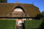 typische Darßer Haustür und Reetgedecktes Dach