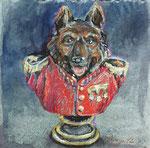 Schäferhund, Pastell, 20 x 20 cm
