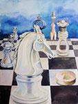 Schach 4, Aquarell, 50 x 40 cm