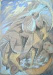 Hoppe Reiter, Stift, Kreide, 70 x 50 cm