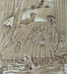 Seestück, Stift, 100 x 90 cm