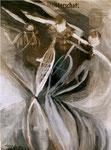 Gleichgewicht, Tempera auf Zeitung, 50 x 40 cm