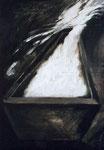 Sarg, Tempera auf Zeitung, 50 x 40 cm