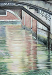 Venedig-bridge, Ölfarbe a. LW 100 x 70 cm
