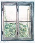Fenster Chiangrai , Aquarell, 18 x 16 cm