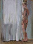 am Fenster2, Pastell, 40 x 30 cm