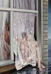 Curtain. Ölfarbe, Gips und Spachtelmasse a.LW, 100 x 70 cm