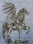 Troja Pegasus, Pastell, Acryl, 30 x 40 cm