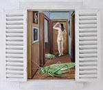 Einblick1, Ölfarbe auf Leinwand, Holzobjekt zum Aufklappen, 60 x 55 cm